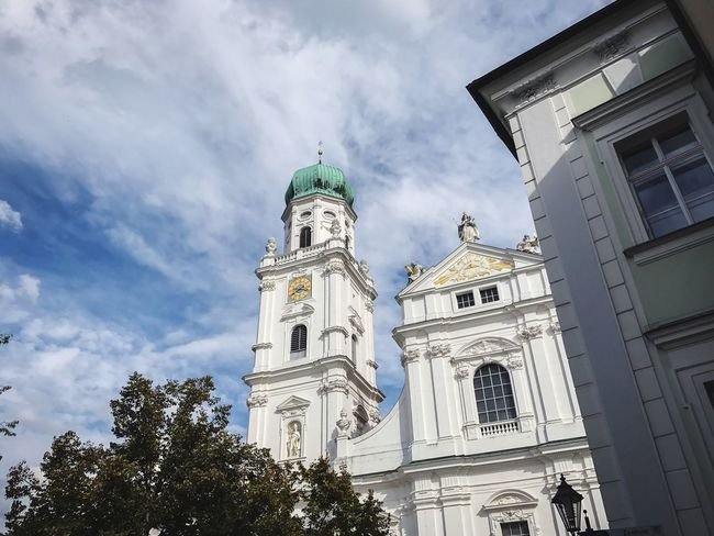 Passau, Germany Architecture Religion Low Angle View Sky Cloud - Sky Spirituality Place Of Worship Building Exterior Built Structure Day No People History Outdoors Statue Tree Bell Tower Religious Architecture Growth City Life