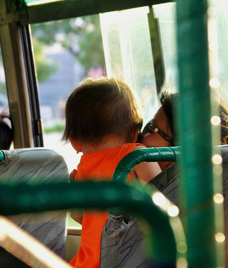 Bus Childhood Day Happy People Hug Inpiration Kiss Love Mon And Child On Bus