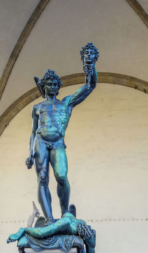 Architecture Art And Craft Attraction Benvenutocellini Blue Bronze Bronze Statue Building Exterior Built Structure Close-up Creativity Day Florence Gargoyle Human Representation Loggiadeilanzi Medusa No People Outdoors Perseus Sculpture Statue Tourism Tourism Destination Water