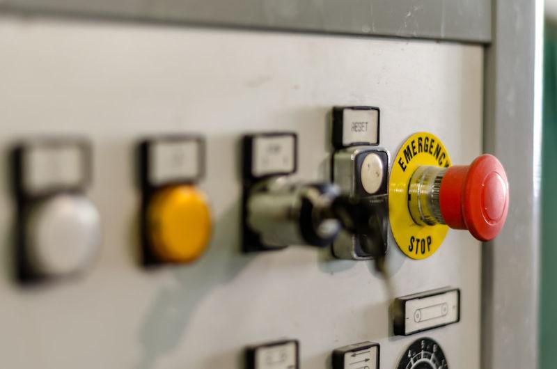 Close-up of machine control panel