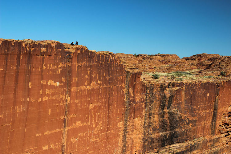 Cliff against clear blue sky