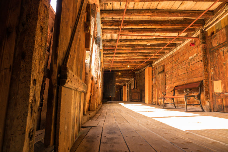 Wood - Material Indoors  Architecture No People Building Wood Built Structure Day Domestic Room Flooring Window Industry Old Roof Absence Arcade Corridor History Ceiling Roof Beam Tyske Brygge Bryggen Bryggen I Bergen