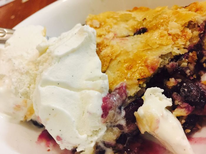 Homemade blueberry pie for my brothers bday!!! Freshness Desserts From Scratch Food Blueberry Pie Vanilla Ice Cream  Pie A La Mode Oahu, Hawaii Happiness Live,love,Hawaii Delish So Fresh Indulgence Favorite