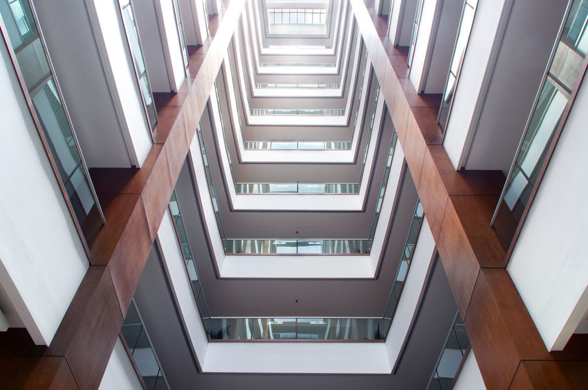 Architectural Feature Architecture Architecture Backgrounds Building Built Structure Day Design Diminishing Perspective Directly Below Full Frame Geometric Shape Light Low Angle View Modern No People Repetition The Architect - 2016 EyeEm Awards