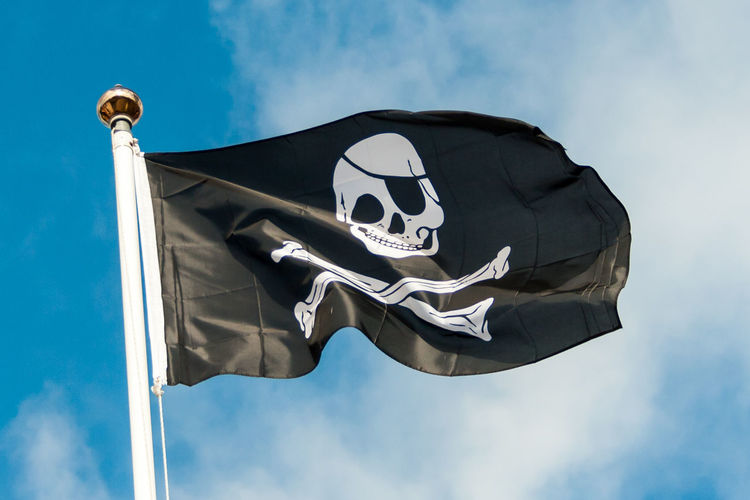 Jolly Roger in the Wind Black Blue Sky Day Flag Jolly Roger Low Angle View No People Outdoors Piracy Sky White Wind