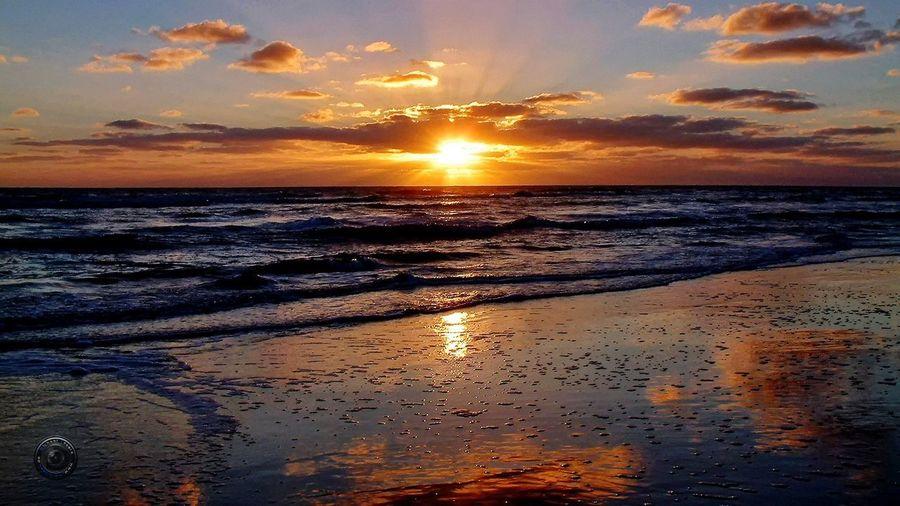 Ostsee Amrum Beach Amrum Water Sea Low Tide Sunset Beach Wave Horizon Sand Multi Colored Summer