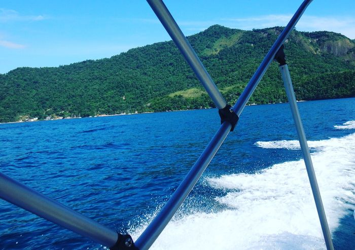 ANGRA DOS REIS RIO DE JANEIRO BRAZIL Beauty In Nature Blue Boat Day EyeEm Team Idyllic Mountain Mountain Range Nature No People Non Urban Scene Non-urban Scene Outdoors Part Of Remote Rippled Scenics Sky Tourism Tranquil Scene Tranquility Turquoise Colored Water