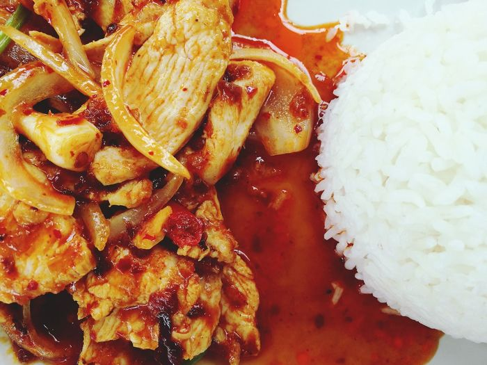 Stir fried chicken with roasted sweet chilli pasted Food Food And Drink No People Healthy Eating Freshness Close-up Indoors  Ready-to-eat Day UnderSea First Eyeem Photo