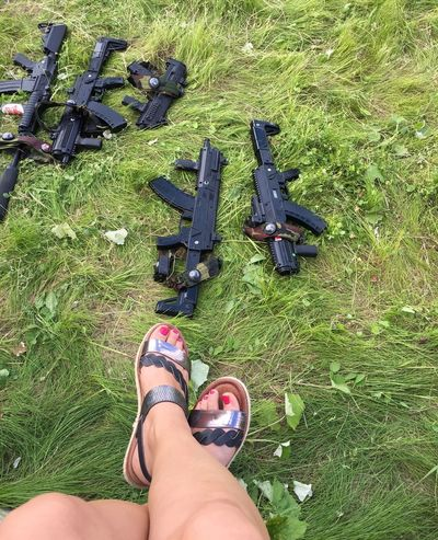 Our team-building )) Feet Field Grass Gun High Angle View Human Leg Military Outdoors Personal Perspective Shoe Weapon