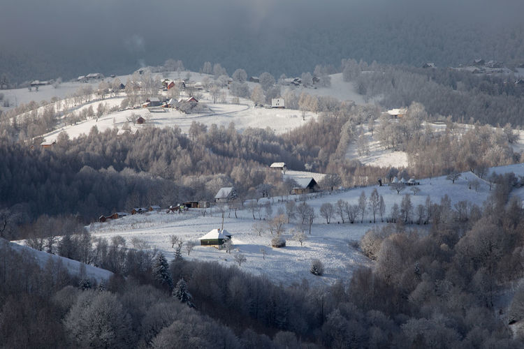 High angle view of landscape during winter
