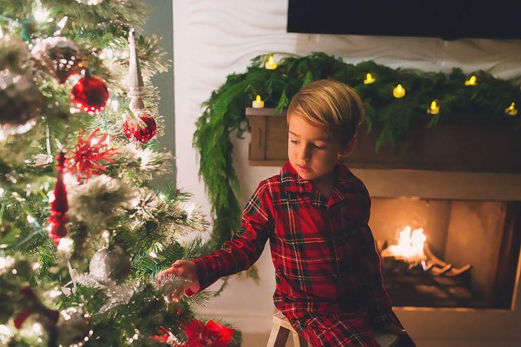Full frame shot of illuminated christmas tree