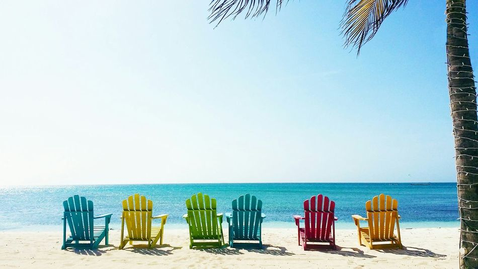 Aruba♥ Beachphotography Beach Chairs Islands Carribean Overexposed Colerfull Great View Enjoying The Sun Sunset
