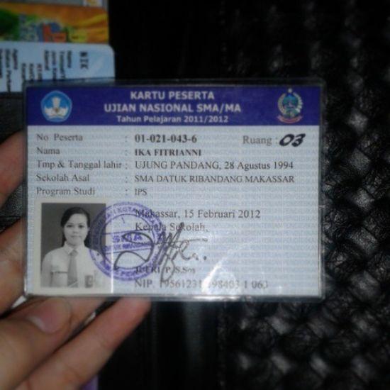 Kartu peserta UN tahun lalu masih disimpan sbg kenang*an :') Instamemory SMA Masaterindah