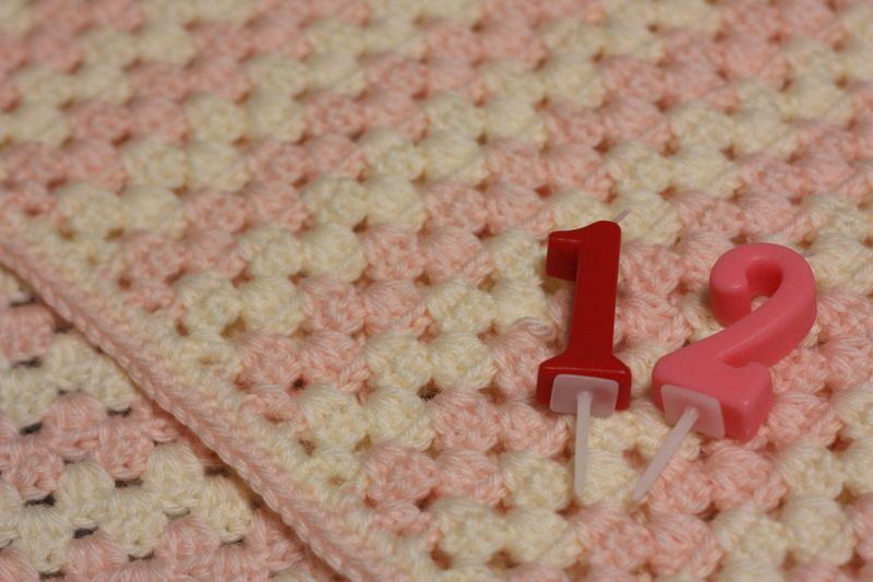 Number Candles On Knitted Fabric