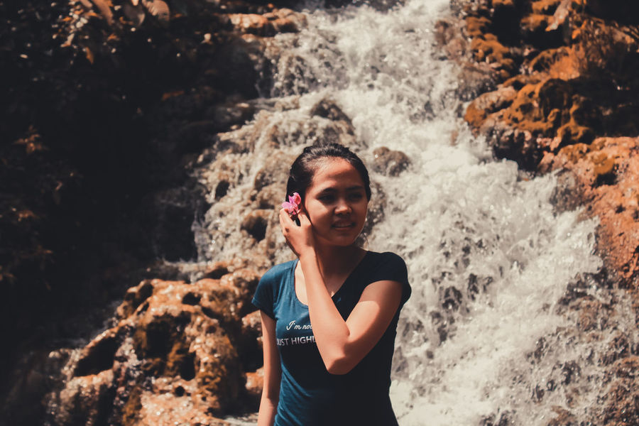 EyeEm Selects Beauty of Indonesia People One Person Water Standing Smiling Day Young Women Happiness Outdoors Nature Waterfall Love Photography Beauty In Nature Beauty Happy Like4like Likeforlike Likes Rate Me Rate Adult Adults Only Young Adult First Eyeem Photo