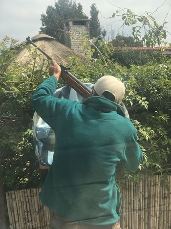 Shooting, Hunting Shotgun Hunting Shooting A Weapon One Person Real People Plant Day Lifestyles Standing Nature Tree Leisure Activity Fence Rear View Boundary Casual Clothing Three Quarter Length Men Outdoors Holding Green Color Barrier