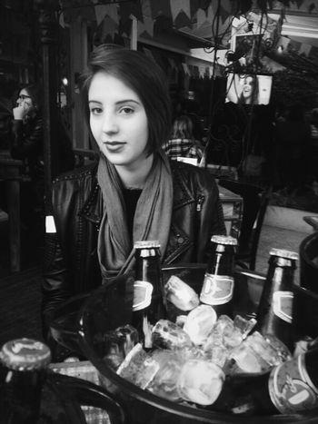 Girl Purple Lipstick Beer Love My Short Hair