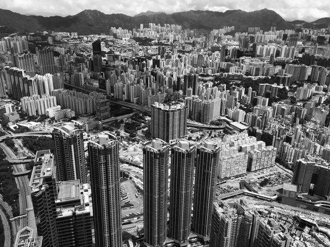 Skyscraper City Cityscape Tall - High Tower Aerial View Urban Skyline HongKong Panoramic Sky100 Blackandwhite Bnw City View  Fascinating