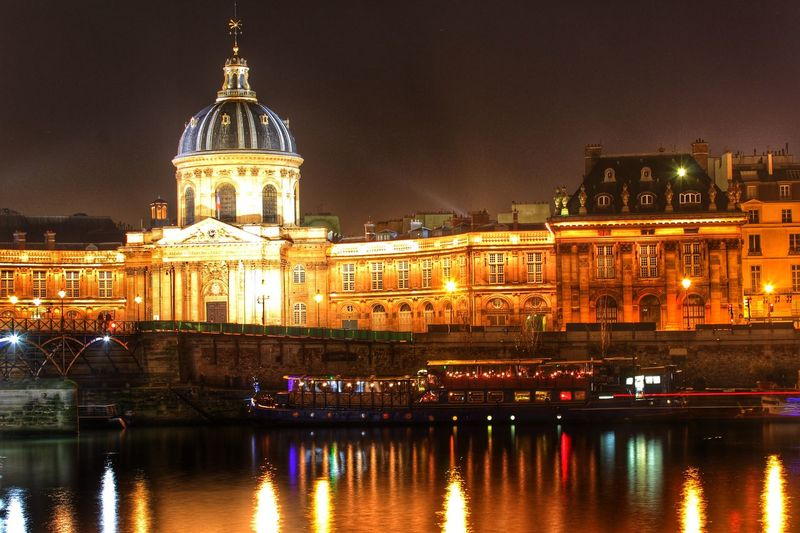 Paris France Europe Night Lights Reflection Water Boats Long Exposure