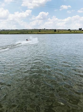 Water sports on a Summer Day Landscape Lake Sky Nature Outdoors No People Water Day Fun In The Sun Outdoor Sports Wake Boarding Knee Boarding at Stokecity Wake Park in Johannesburg South Africa