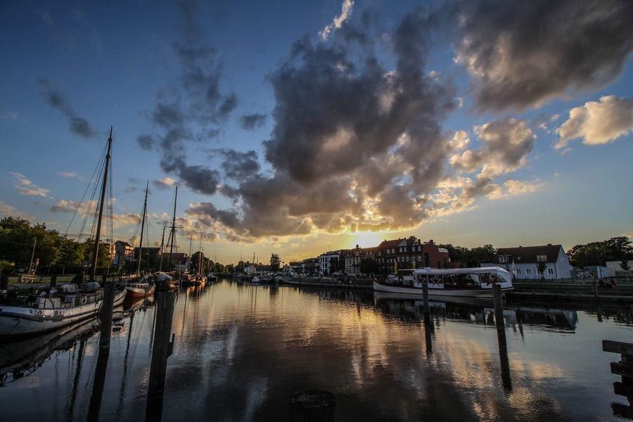 Greifswald Sky Cloud - Sky Reflection Water Sunset Outdoors Ryck Ostsee Schiff Canonphotography Harbor Canon700D No People Mecklenburg-Vorpommern