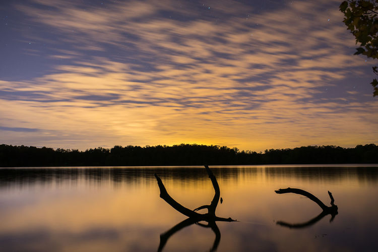 Calm Cloud Lake Nature Orange Color Outdoors Reflection Scenics Sky Sunset Tranquil Scene Water