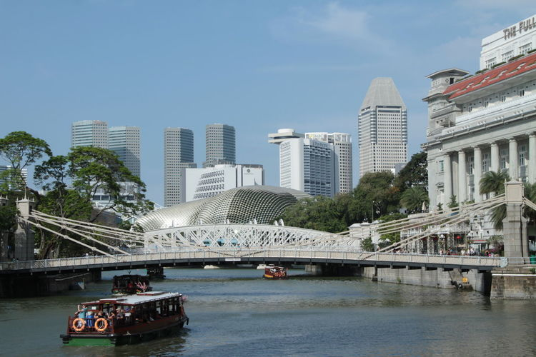 enjoy the canal Architecture Bridge - Man Made Structure Building Exterior Built Structure Canal Capital Cities  City Connection Downtown Marina Bay Sands Mode Of Transport Modern Outdoors River Singapore Tourism Travel Destinations Water