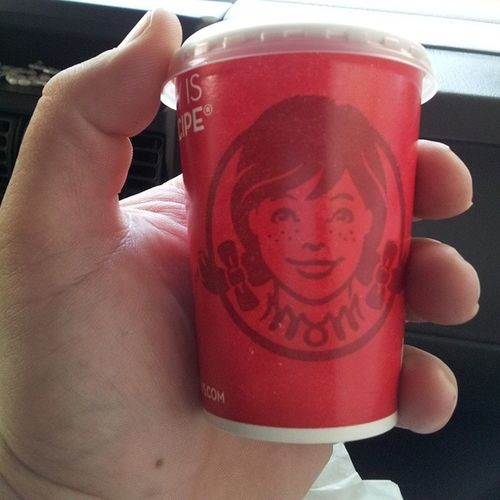 Wendy who you foolin? What is this a drink for ants? Wendy Tinydrank Stoplookingatmeswan Hershirtsaysmom smiles smileyfuck