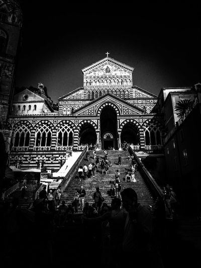 Duomo. Travelphotography Photo Travelph Photographer Travelphoto Traveldestination Travelling Streetphotography Church Visitcampania Coast Photogram Built Structure Italy Blackandwhite B&w Black And White darkness and light Shadows & Lights Old Amalfi Coast Beautifulplaces Traveling Postcard Arts Culture And Entertainment Building Historic Exterior Architectural Detail Stairway