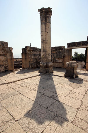 Ruins of the great synagogue of Capernaum, Israel. Ancient Archaeological Belief Biblical  Capernaum Capharnaum Faith Galilee Historic Holy Holy Land Israel Peter Religion Religious  Ruins Sacred Saint Spirituality Synagogue Village Worship