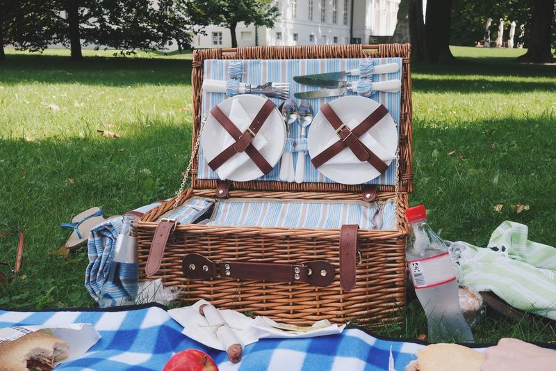 View Of Picnic Basket On Field