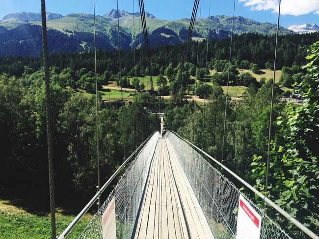 Suspension Bridge, Swiss Alps Mountain Tranquility Tranquil Scene Idyllic High Angle View Landscape Beauty In Nature Hiking Trail Hikingadventures Vacations Fiesch Switzerland