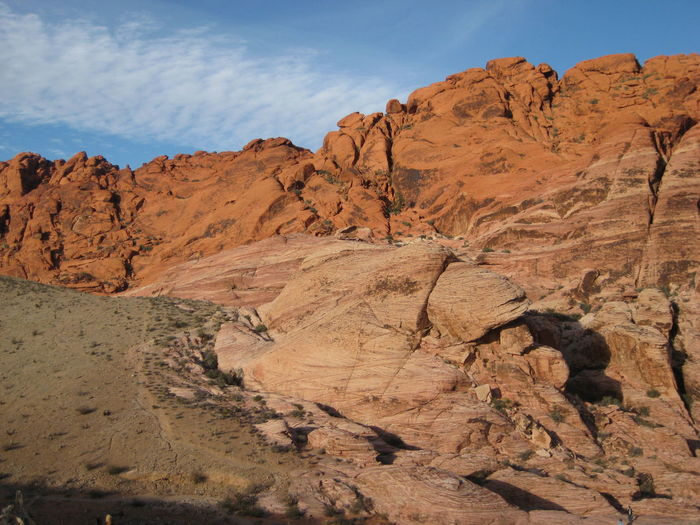 Rock formation at red rock canyon national conservation area against sky