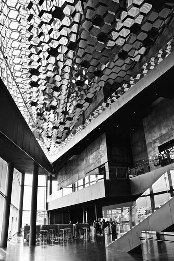 Architectural Feature Architecture Black And White Building Built Structure Day Design Engineering Glass - Material Harpa Icelnad Low Angle View Modern Office Building Pattern Reykjavik