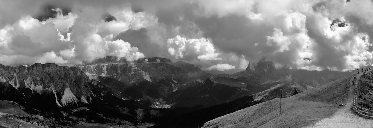 Panoramic view of landscape against cloudy sky