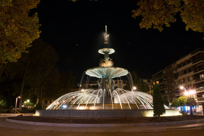 Granada, Spain SPAIN Andalusia Sacromonte Illuminated Night Tree Architecture Built Structure Building Exterior Motion City Plant Nature No People Fountain Sky Travel Destinations Street Outdoors Long Exposure Sculpture Blurred Motion Travel