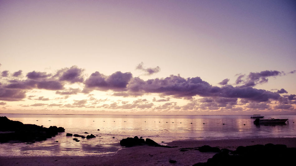 Indian Ocean Morning Morning Light Beach Boat Clouds Daylight Floating Idyllic Land Mauritius Nature No People Outdoors Sea Sky Sunrise Tranquility Wakeup Water