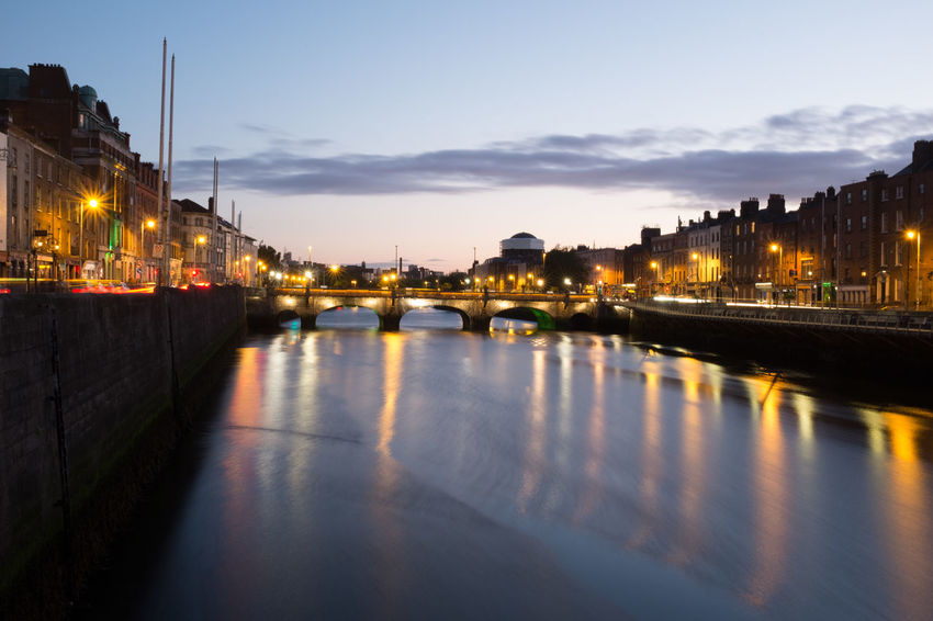 Grattan Bridge Blue Hour Dublin Grattan Bridge Architecture Bridge - Man Made Structure Built Structure City Cityscape Dusk Illuminated Liffey Liffeybridge Liffeyriver Night Reflection River Street Light Water Waterfront