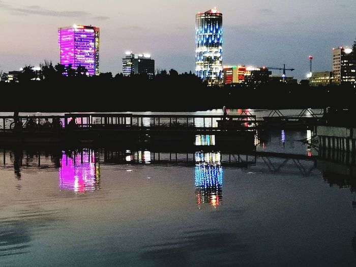 The evening before the summer solstice.. Nightphotography Night Lights Night Photography Lake View Water Reflections Huawei Photography Huawei P20 Pro Photography Multi Colored Reflection Purple Sky Architecture Building Exterior Office Building Urban Skyline