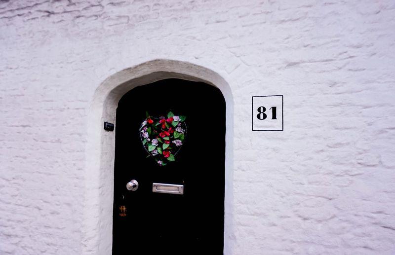 Entrance to white door