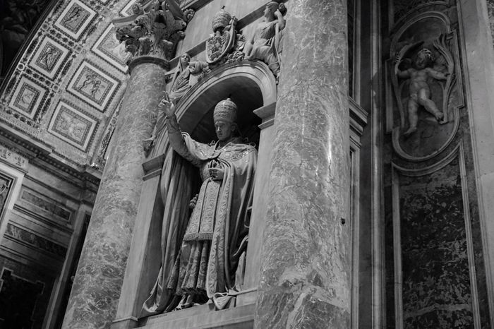 Architecture Low Angle View Statue Sculpture Travel Destinations Human Representation Built Structure Building Exterior Architectural Column History Religion Outdoors No People Place Of Worship City Day Bas Relief From My Point Of View Church The Human Condition The Devil's In The Detail Blackandwhite BW Collection Black And White Black & White Welcome To Black