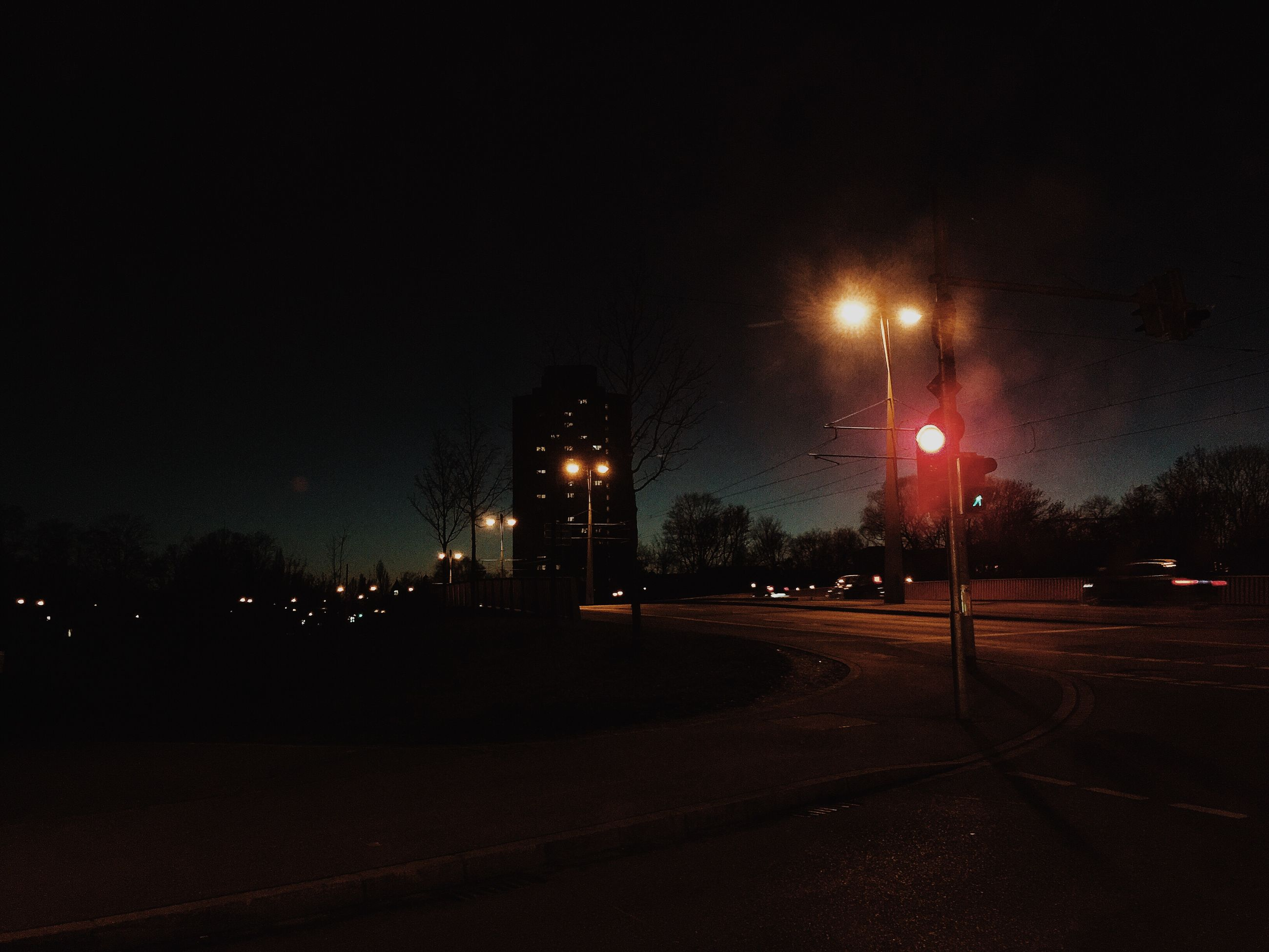 night, illuminated, street light, road, street, transportation, lighting equipment, the way forward, tree, sky, dark, car, copy space, road marking, outdoors, building exterior, city, clear sky, no people, empty