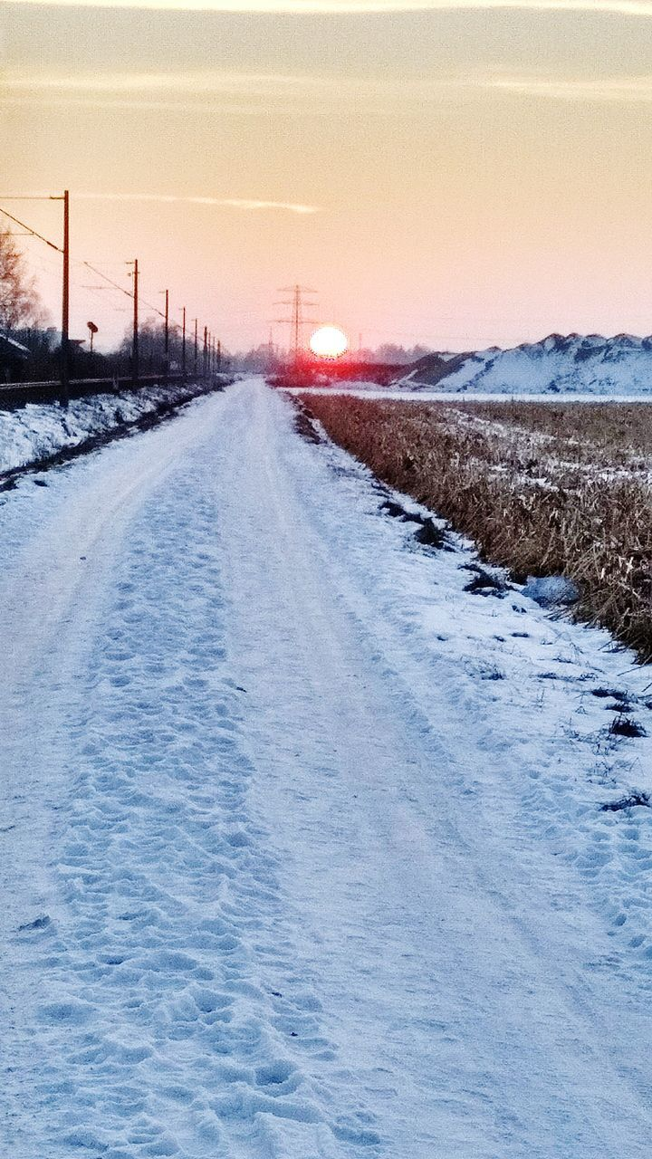cold temperature, winter, snow, weather, the way forward, nature, transportation, no people, frozen, outdoors, scenics, tranquil scene, landscape, beauty in nature, tranquility, road, rail transportation, day, sky, sunset