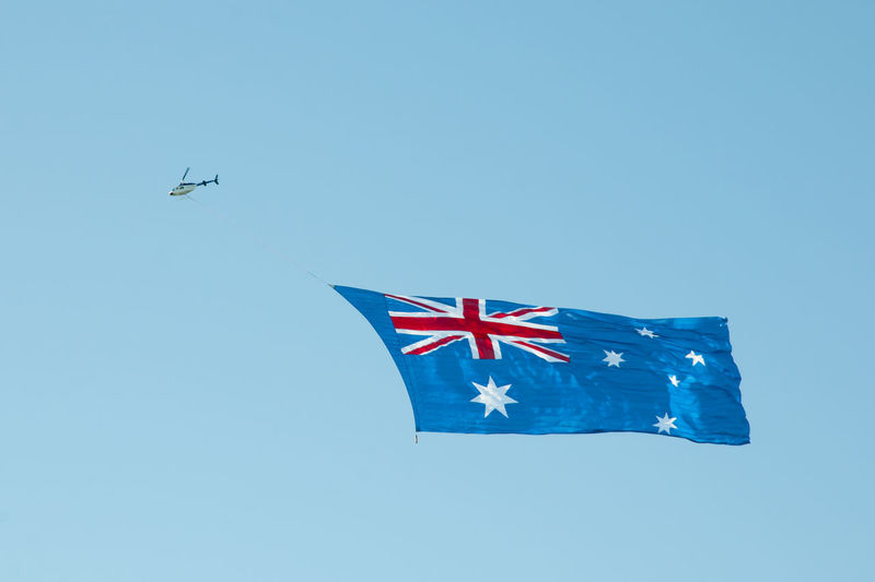 Australian Flag on Helicopter Australia Day Australian Flag Helicopter Perth Flying