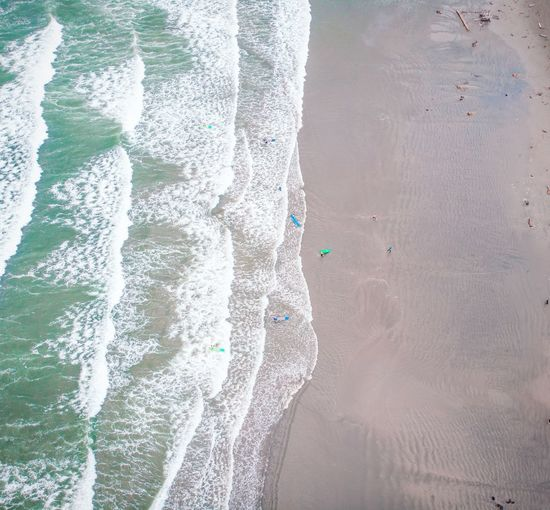 Full frame shot of sea,tofino beach vancouver island from above