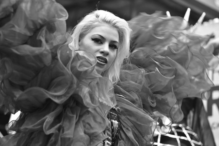 Parade Woman Real People Lifestyles Selective Focus Females Beautiful Woman One Person Blackandwhite