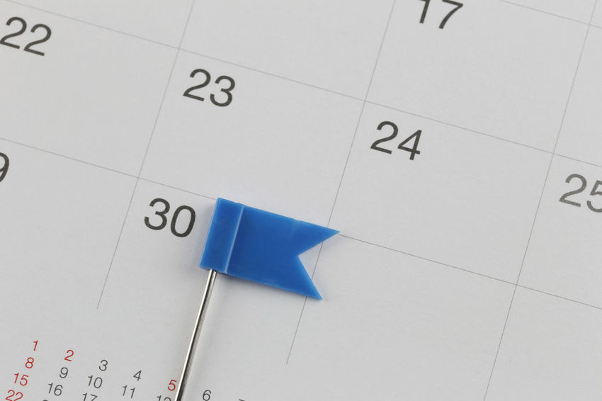 Blue Pins to Placed on the calendar beside the number of thirty in business concept time and date. Calendar Number Paper Reminder Indoors  No People Close-up Blue High Angle View White Color Time Deadline Studio Shot Tile Document Copy Space Business Full Frame Selective Focus Blank Countdown Wildcats Calendar Date Calendars Business