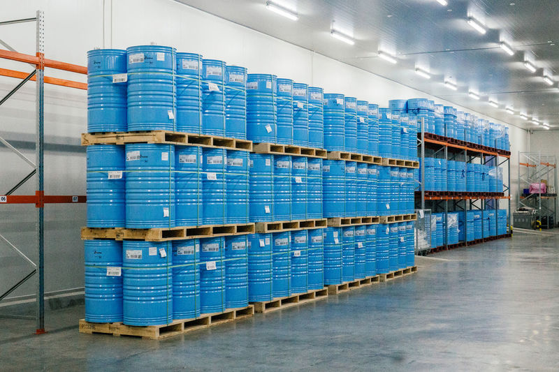 Architecture Blue Stack Indoors  Domestic Room Warehouse Building Container Large Group Of Objects Industry Freight Transportation Business No People Day In A Row Box Shelf Order Flooring Absence