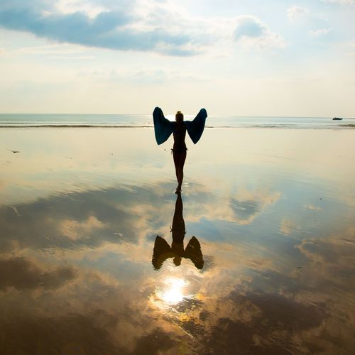 Water Thailand Golden Hour Fun Girl Symbol Beach Angel Sky Water Reflection Horizon Over Water Cloud - Sky Sea Nature Sunset Spirituality Religion Idyllic Beach