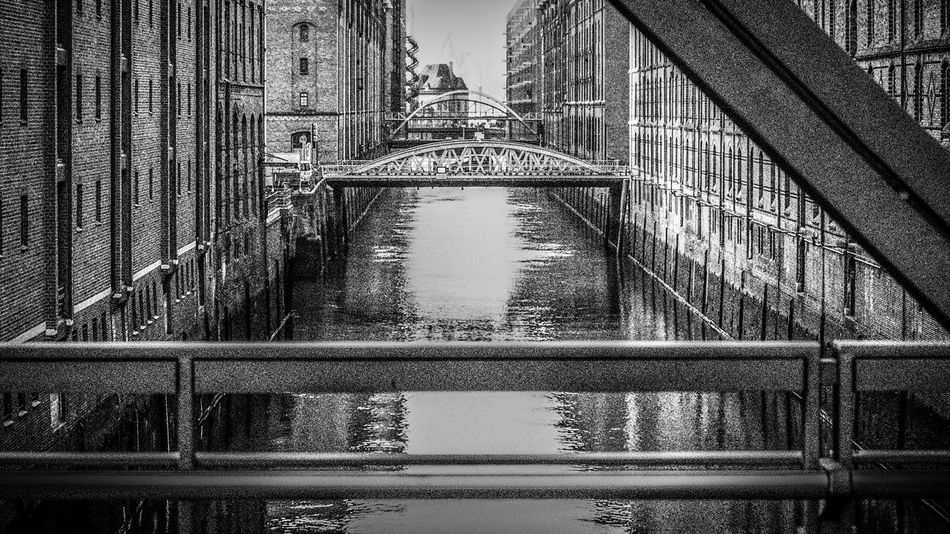 Speicherstadt Hamburg - Brooksfleet / Sandbrücke Black And White Bridge Bw Canal Commerce Crane Fleet Hafencity Hamburg Harbor Harbour Industrial Landscapes Kehrwiederspitze Maritime Shipping  Speicher Speicherstadt Trade Trading Warehouses Water